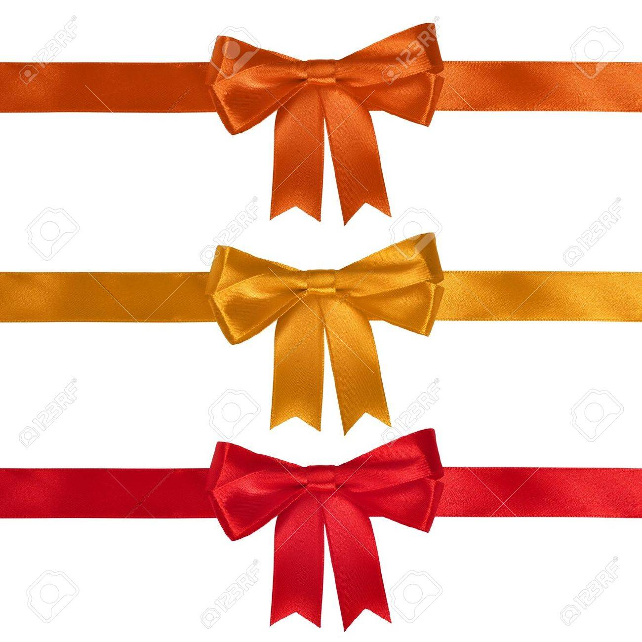 Red gift bows border with clipping path for easy background removing - Red Bow Set Of Ribbon Bows Red Yellow Orange On White Background