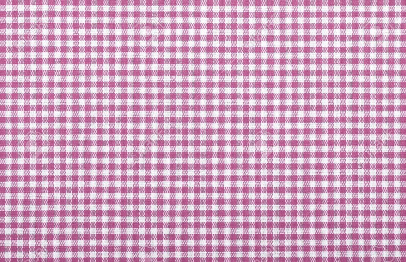 Superb Pink Checkered Fabric Closeup , Tablecloth Texture Stock Photo   18093883