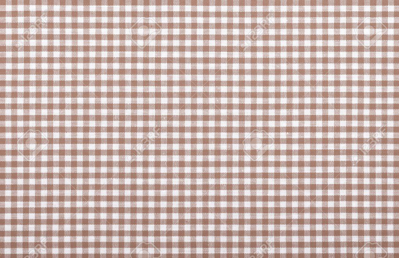 Brown Checkered Fabric Closeup , Tablecloth Texture Stock Photo   18093880