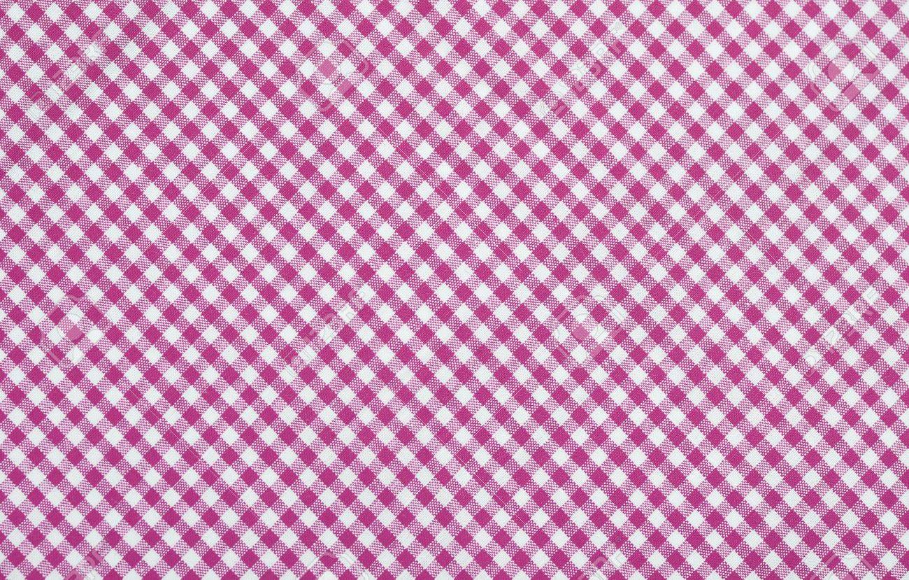 Pink Checkered Fabric Closeup , Tablecloth Texture Stock Photo   18409558