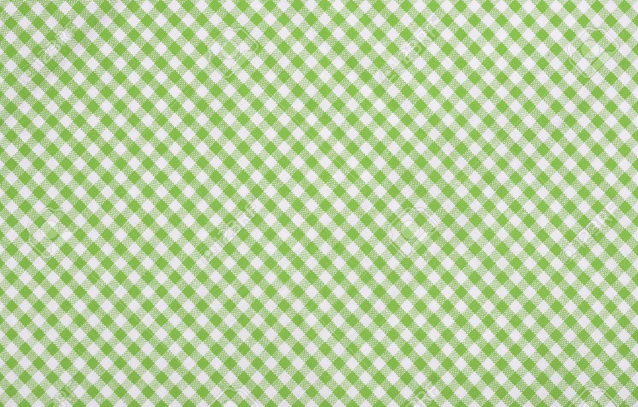 Green Checkered Fabric Closeup , Tablecloth Texture Stock Photo   18409533