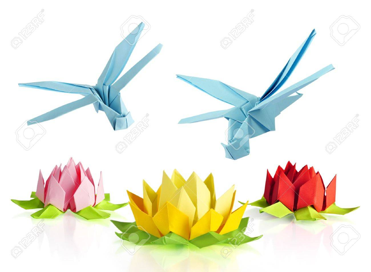 Origami blue dragonfly over flowers lotus over white background origami blue dragonfly over flowers lotus over white background stock photo 18549143 mightylinksfo