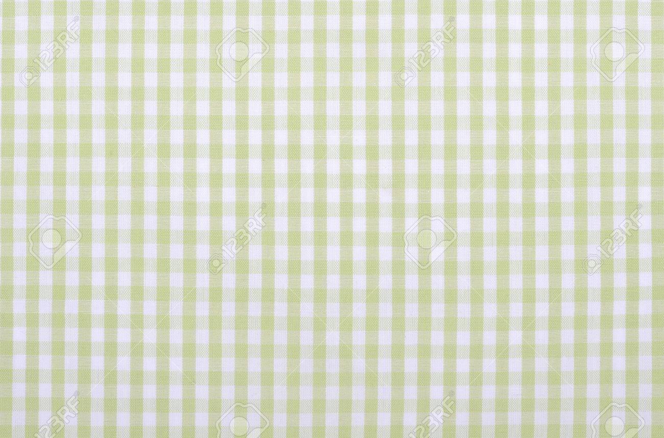 Light Green Checkered Fabric Closeup , Tablecloth Texture Stock Photo    20694687