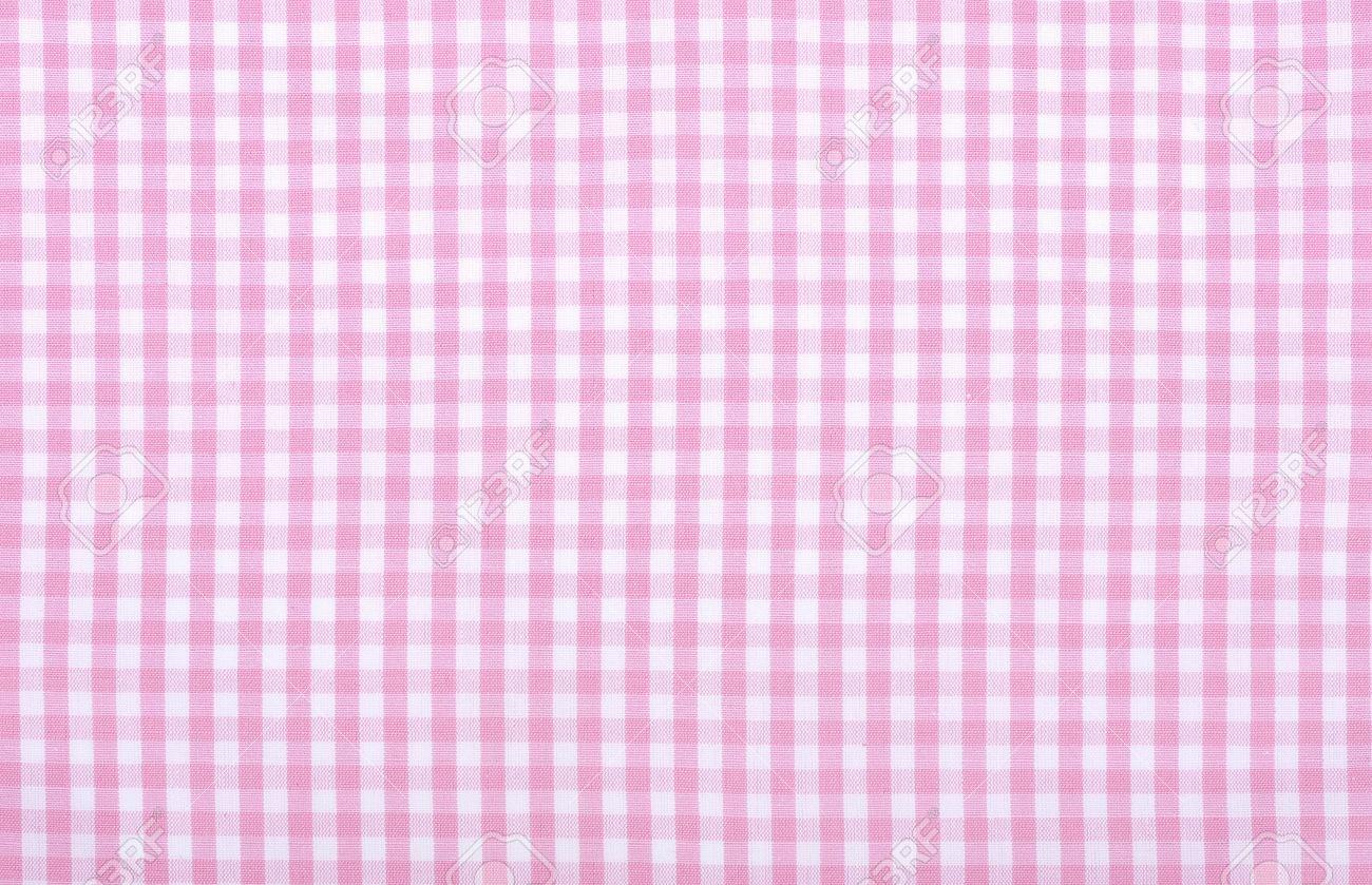 Light Pink Checkered Fabric Closeup , Tablecloth Texture Stock Photo    20694689