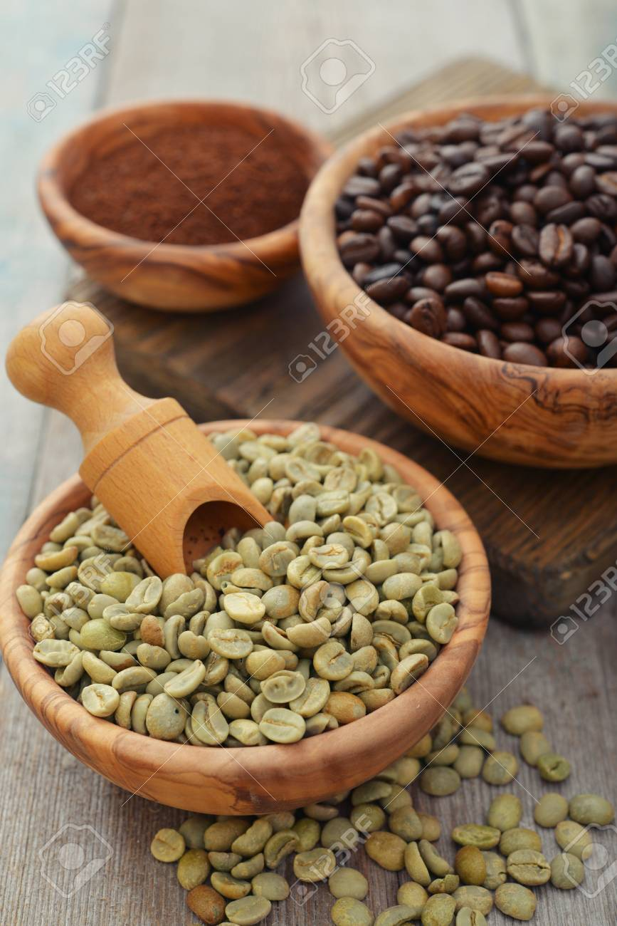 Cafe verde y tostado