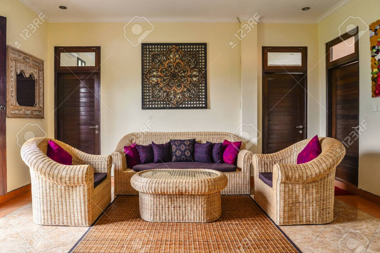 Interior Of Living Room In House For Rent In Traditional Balinese