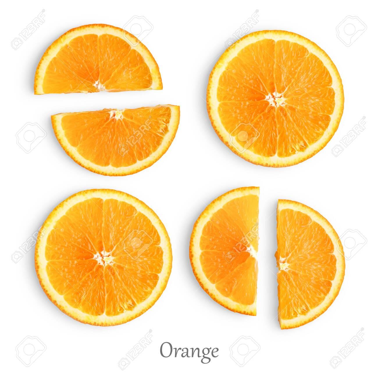 Orange slices isolated on white background - 123934944