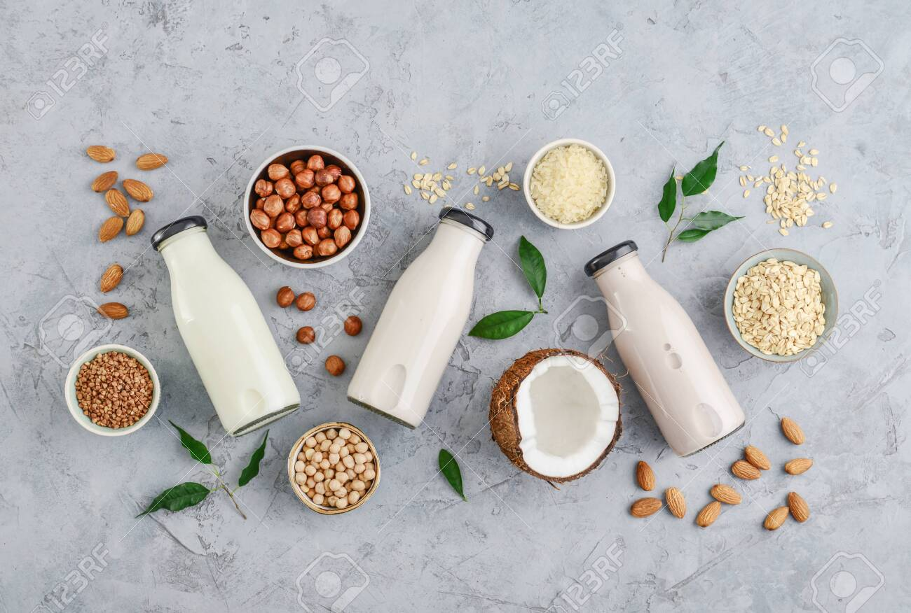 Assortment of ingredients for organic vegan non dairy milk in bowls and bottles with vegan milk on concrete a kitchen table, top view - 131415714