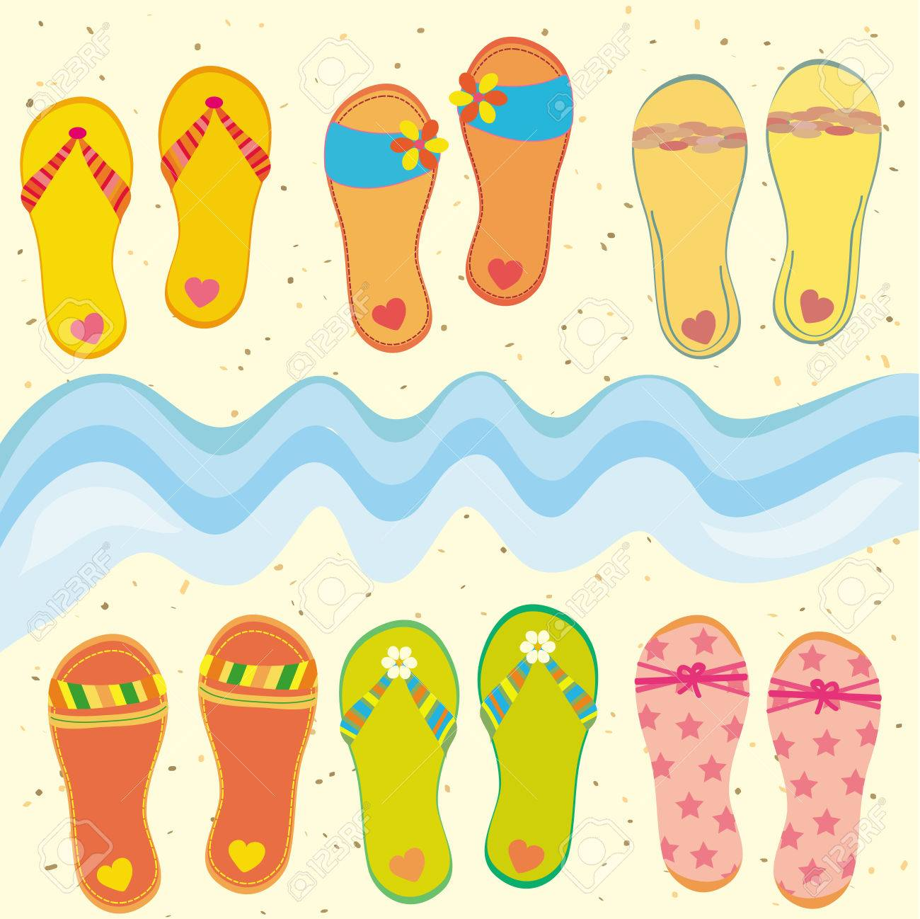 Beach Sandals Drawing Collection of Funny Flip-flops