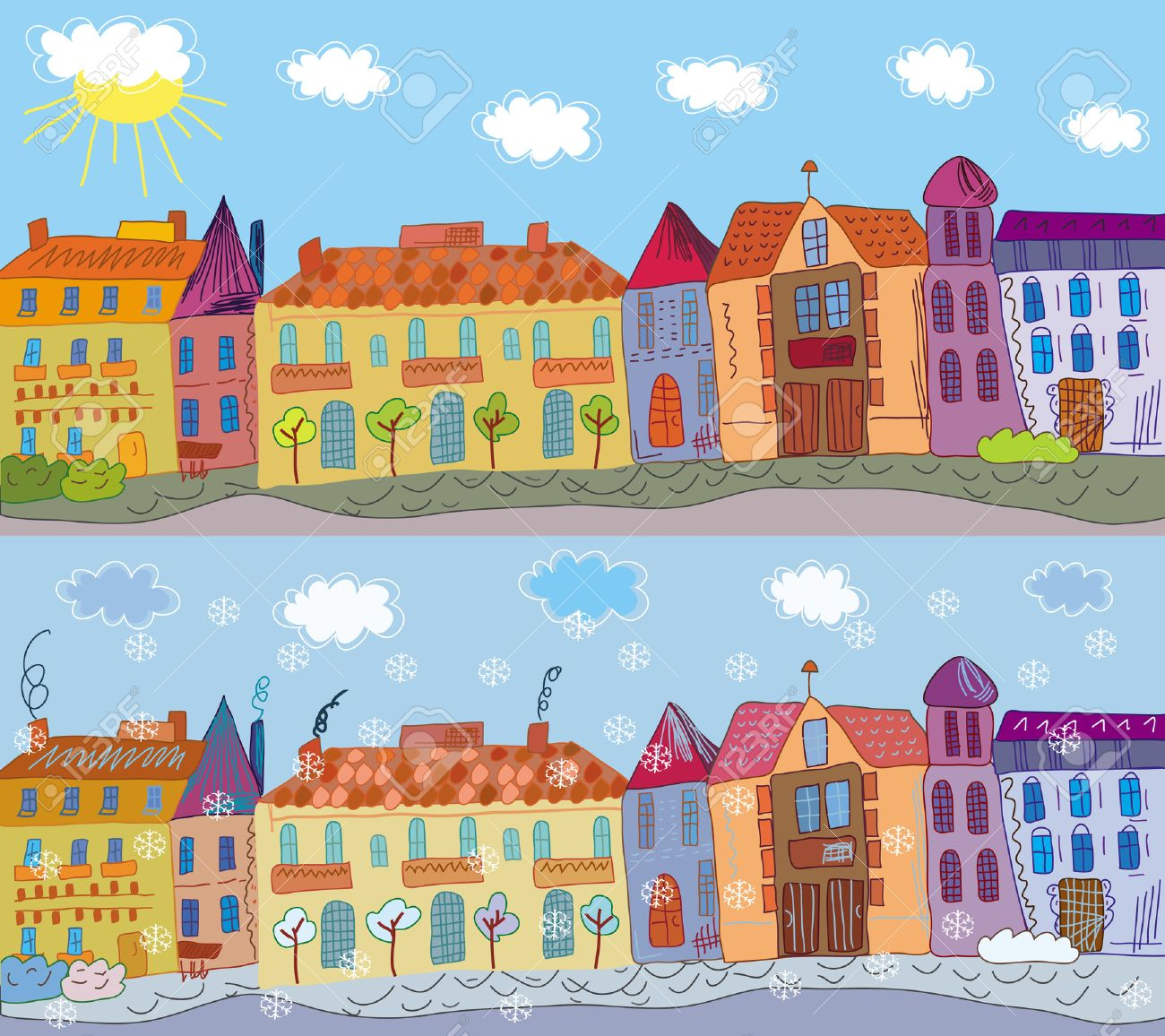 Cartoon town in summer and winter Stock Vector - 6779412