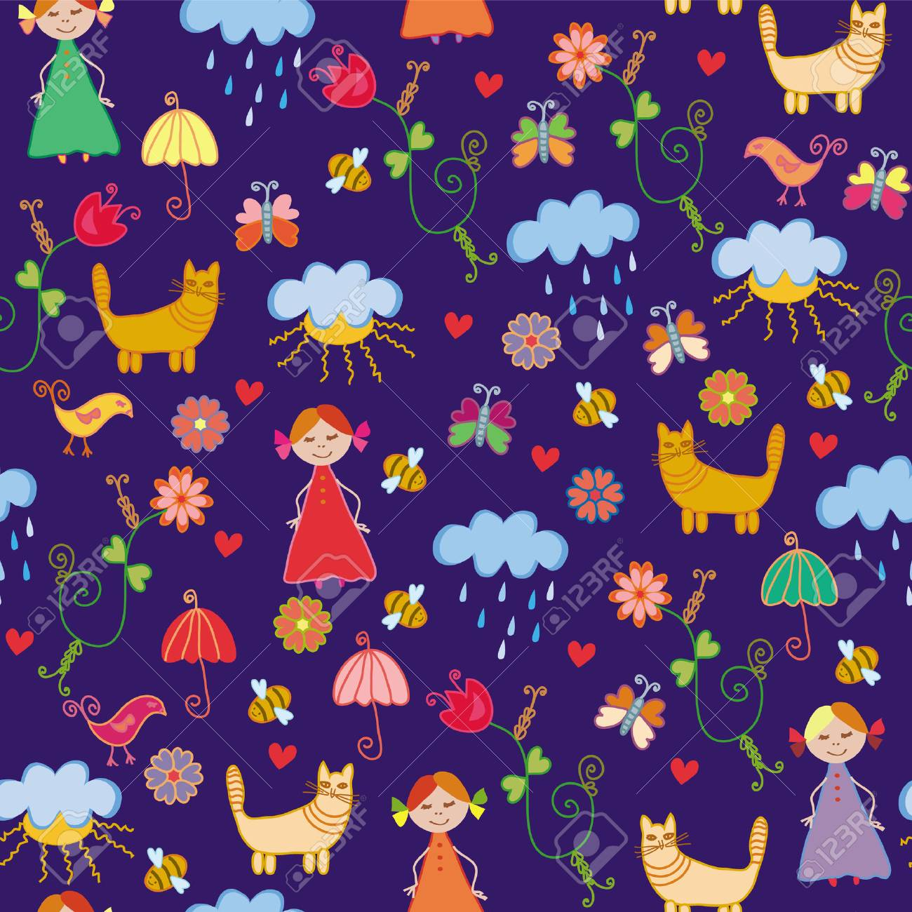 Funny spring chidish cute seamless pattern Stock Vector - 6850094