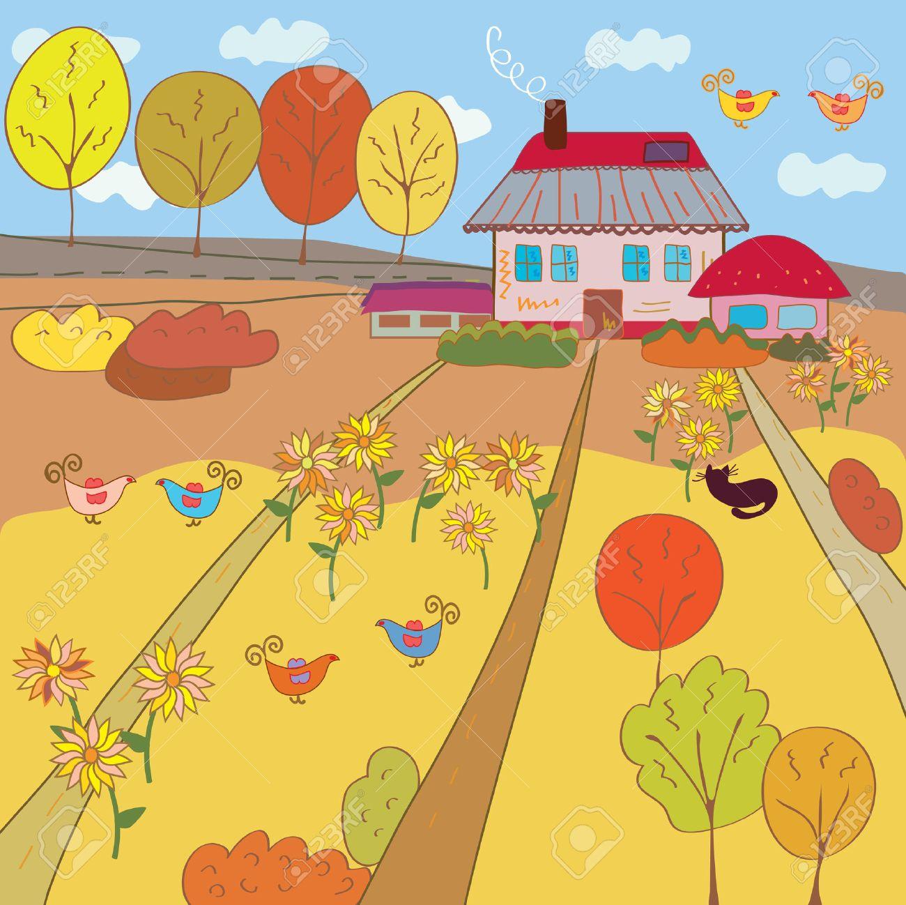 Autumn landscape with farm house Stock Vector - 7778942
