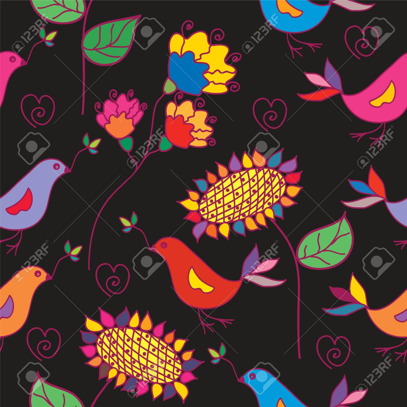 Dark seamless floral pattern with traditional birds Stock Vector - 7778949