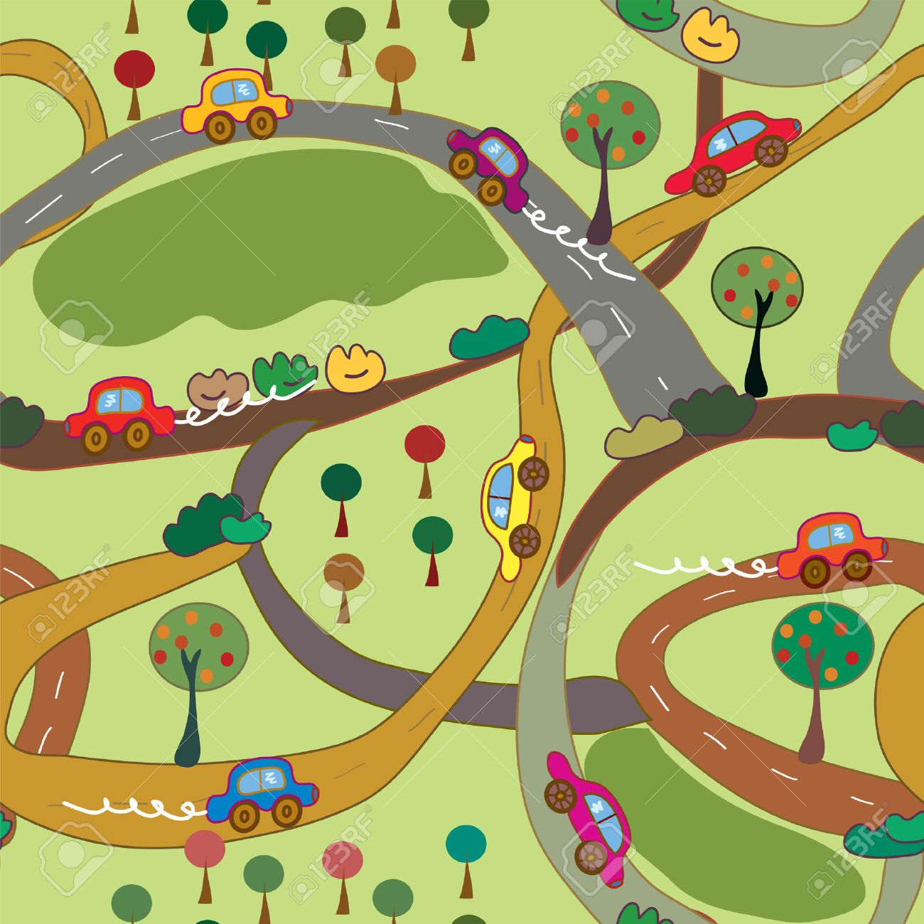 Cartoon seamless pattern with cars and roads in the country Stock Vector - 7779066