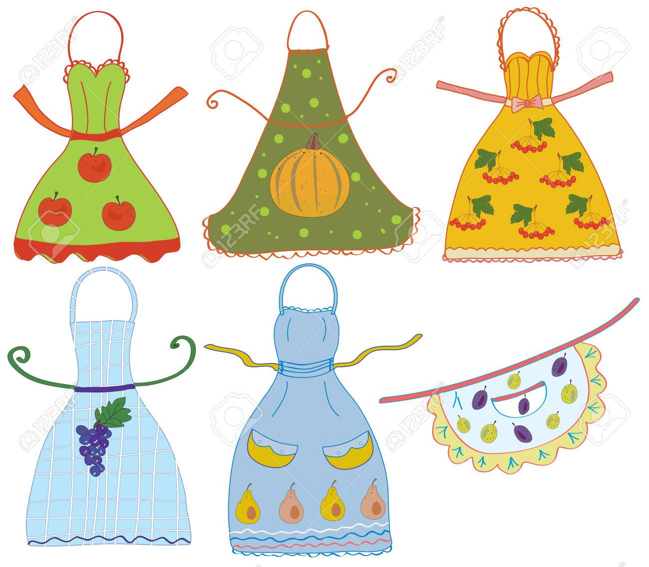 Apron set with vegetables and fruits vector Stock Vector - 8276322