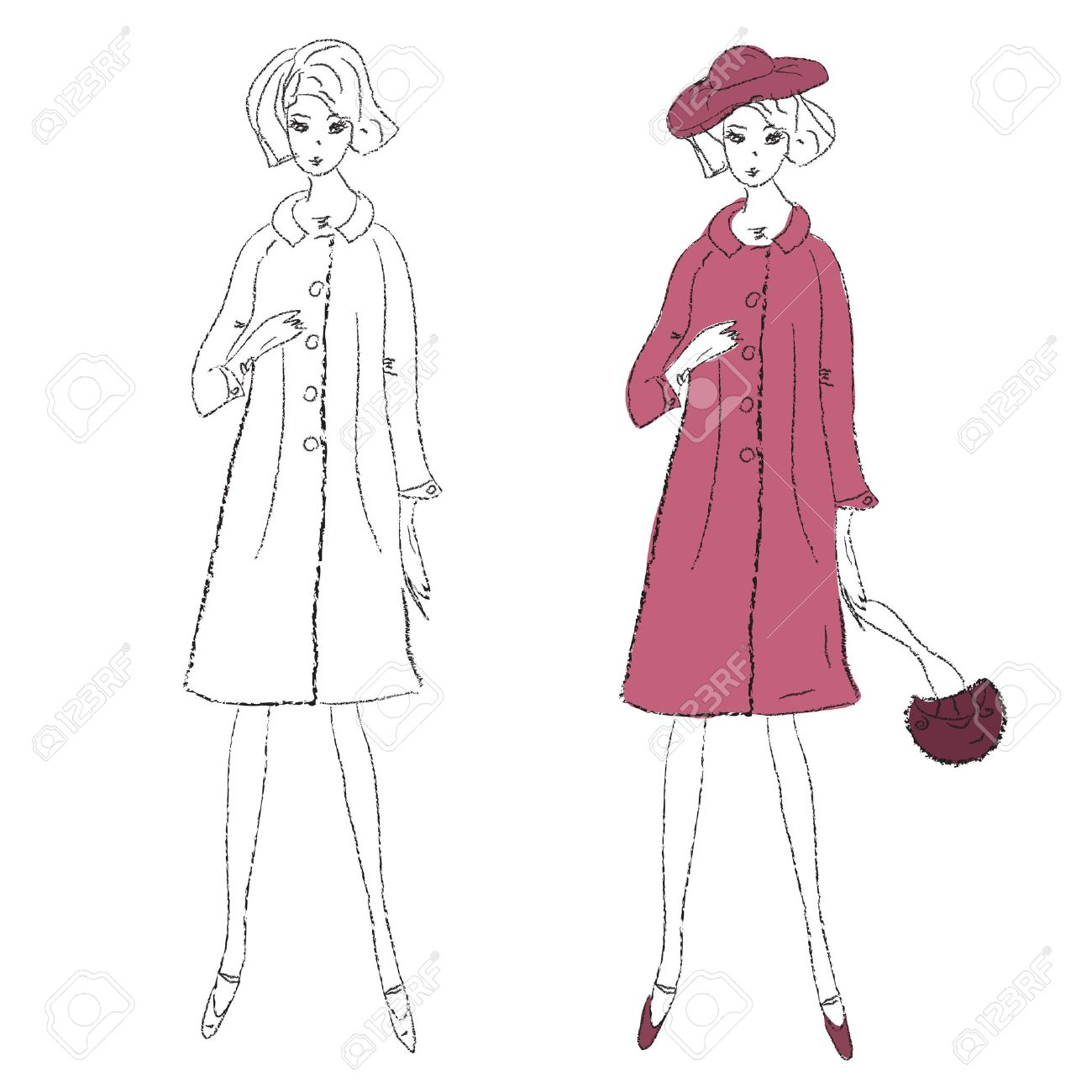 Fashion girl in winter coat sketch Stock Vector - 8276368