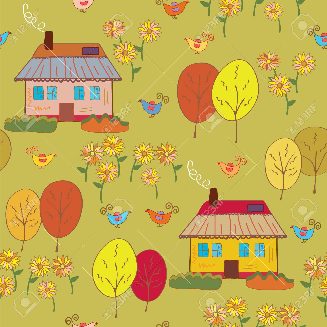 Seamless pattern with houses  at the autumn Stock Vector - 8276314