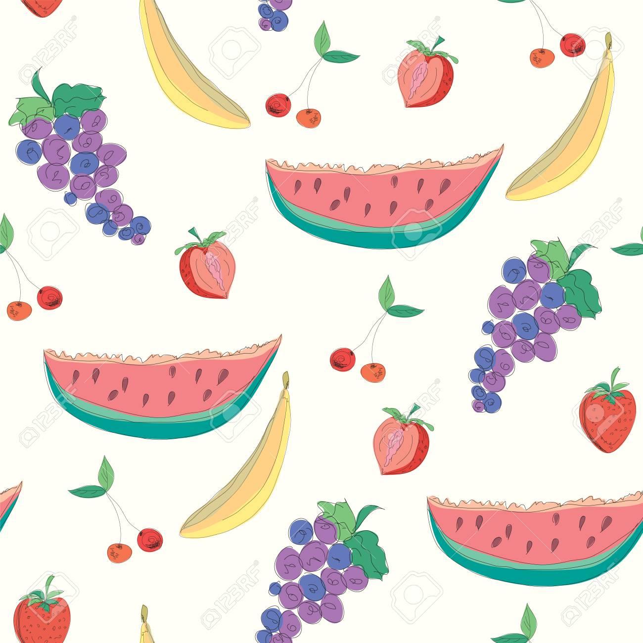 Fruits seamless pattern vector Stock Vector - 8276336