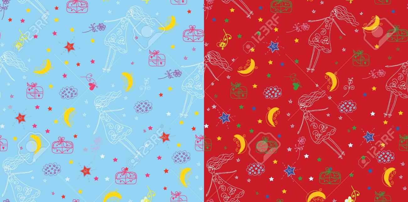 Christmas holiday seamless pattern childish set Stock Vector - 8276354