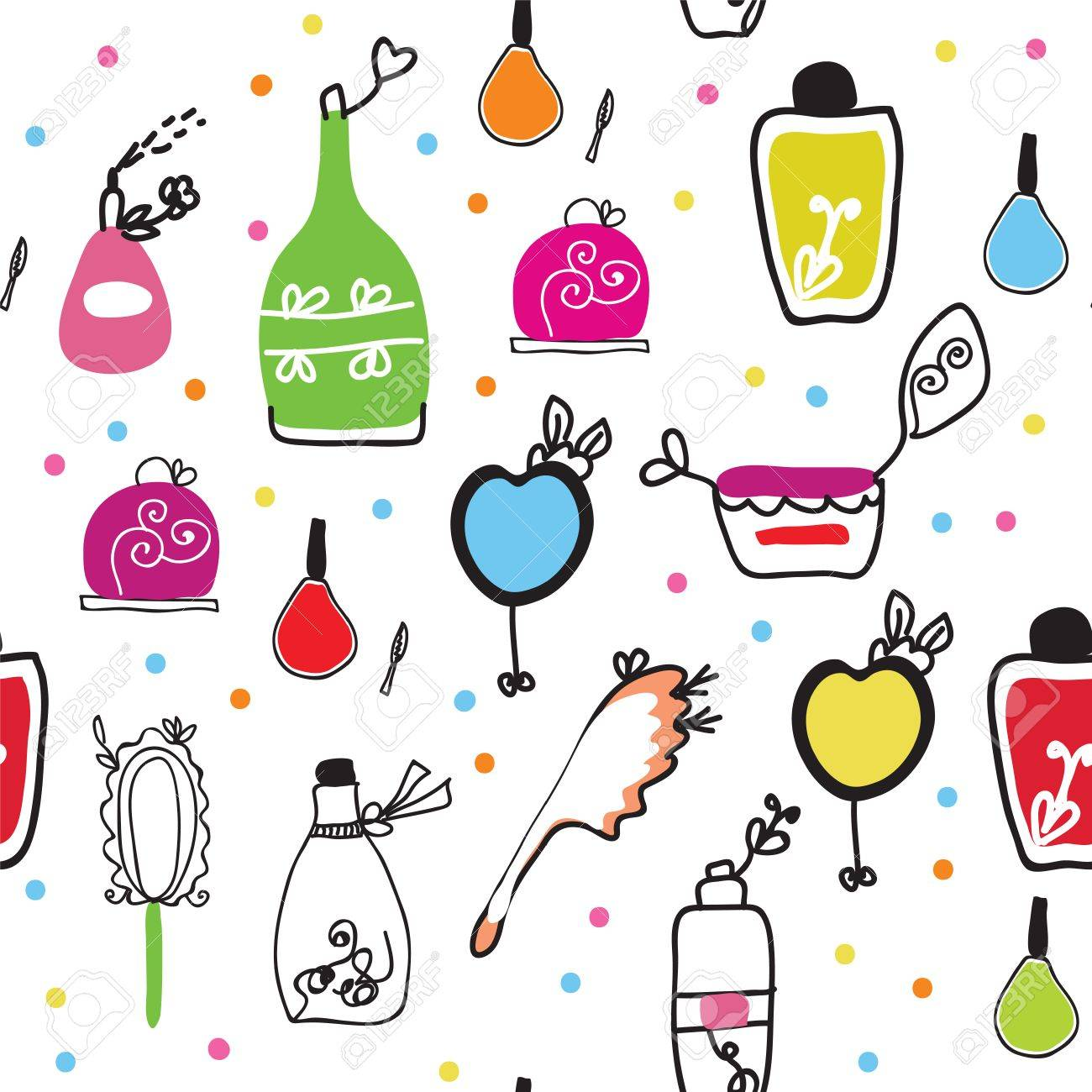 Seamless funny pattern with cosmetics and perfume Stock Vector - 8984360