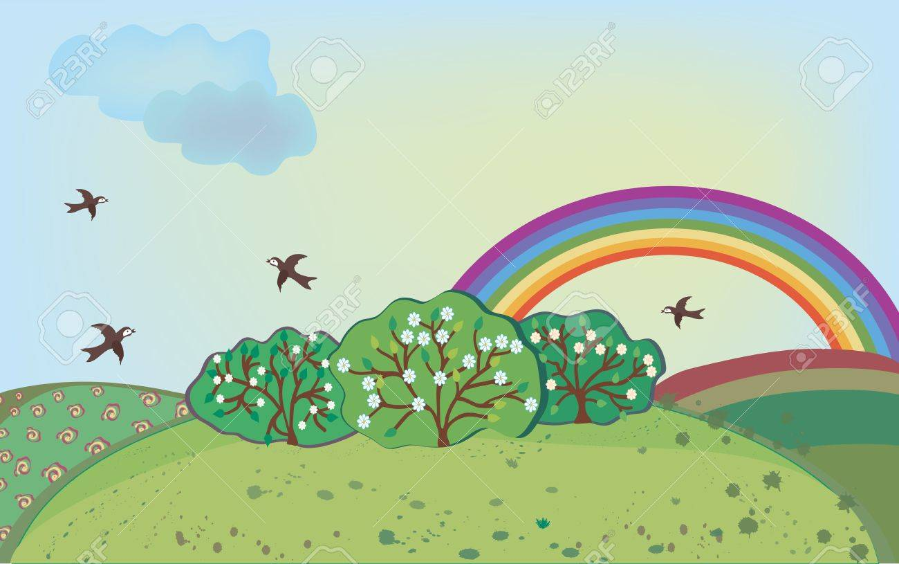 Spring landscape with rainbow and birds Stock Vector - 9177746