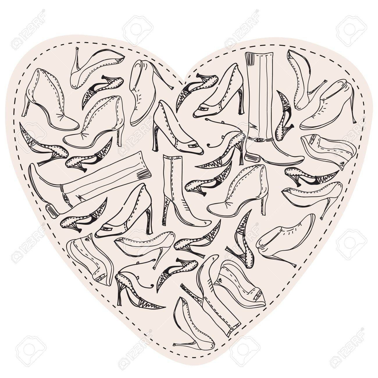 Shoes in the form of heart sketch Stock Vector - 9213215