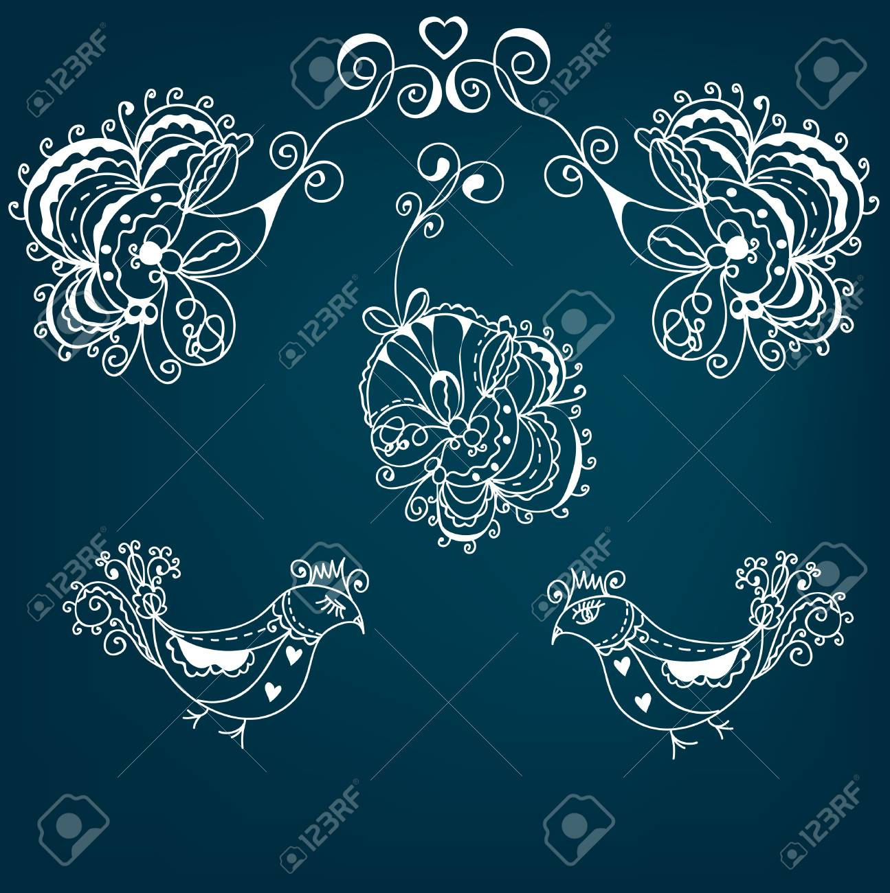 Abstract greeting floral background with bird Stock Vector - 9268587