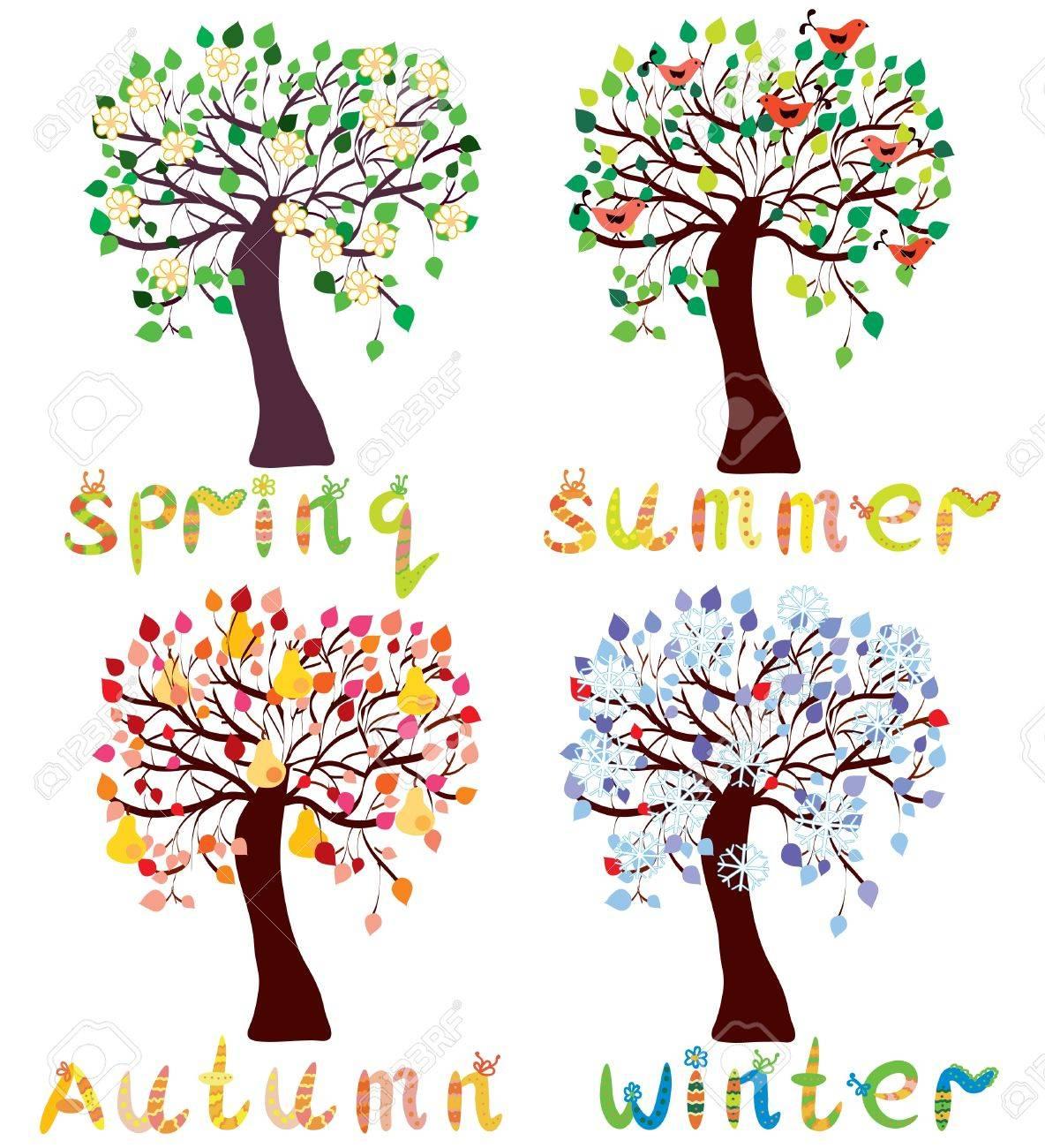 Set of season trees in childish style cartoon Stock Vector - 9451765