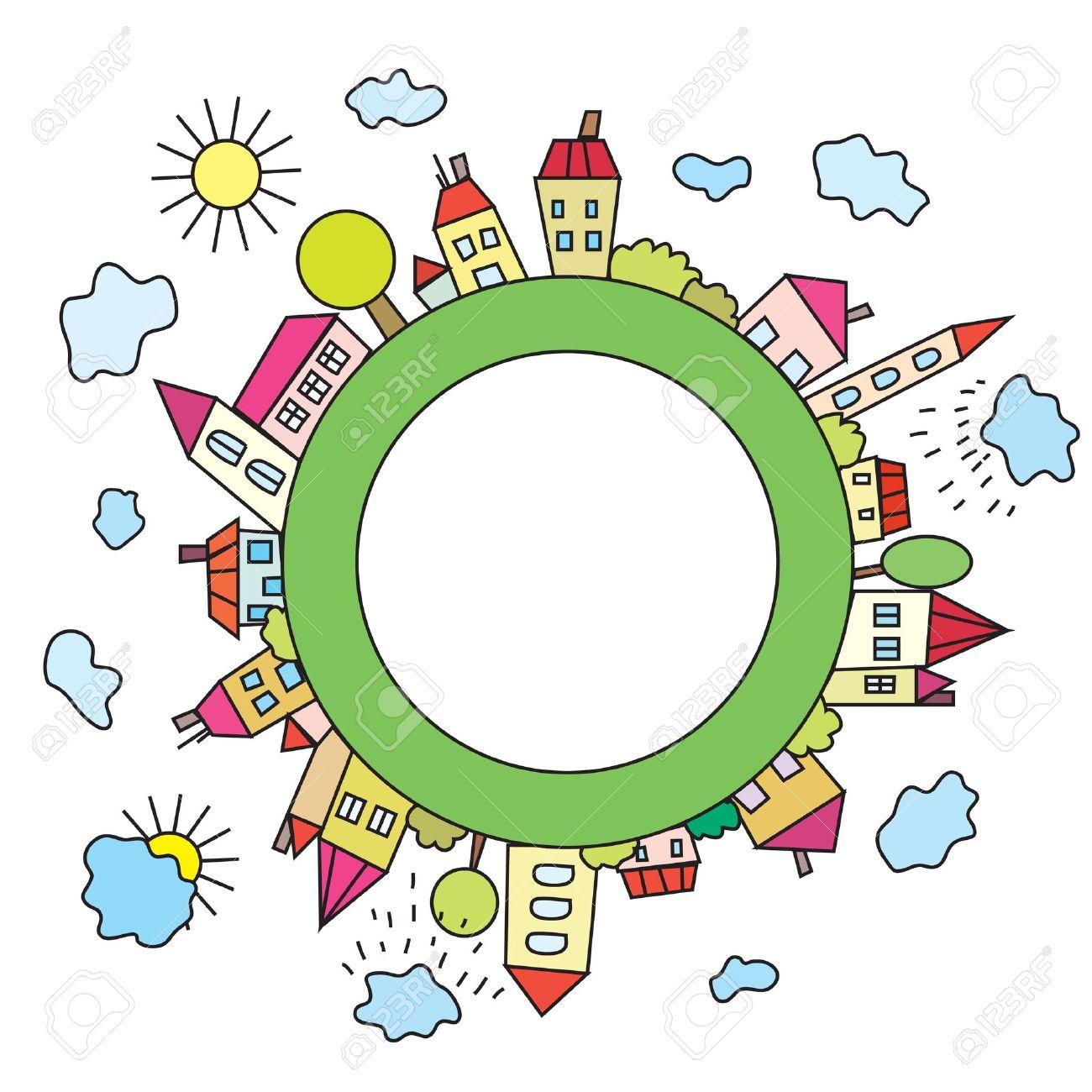 Cartoon childish city on the planet Stock Vector - 9502601