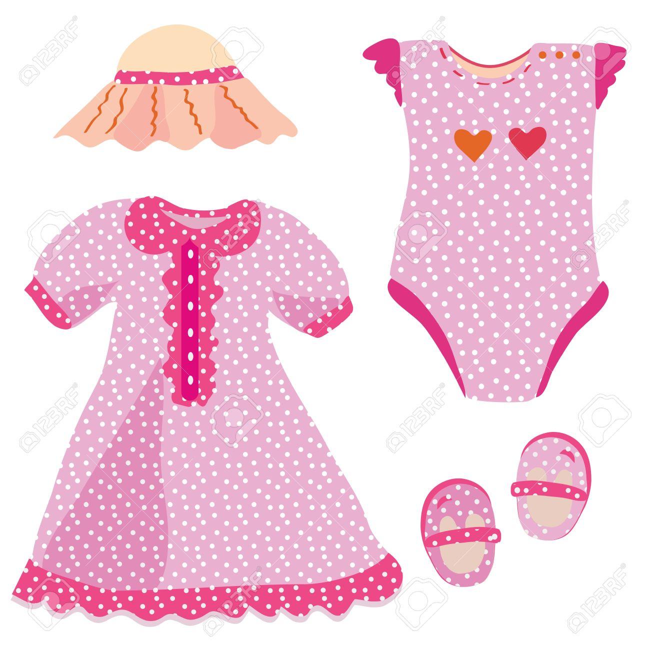 Baby set for girl - dress, hat, babygro, shoes Stock Vector - 9502629