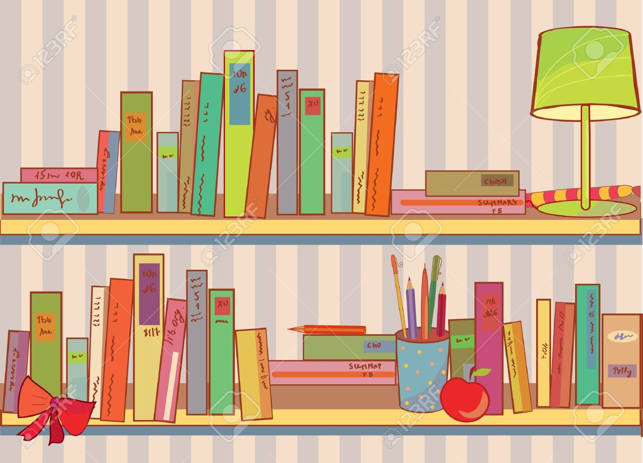 Shelves with books at home funny cartoon Stock Vector - 9502610