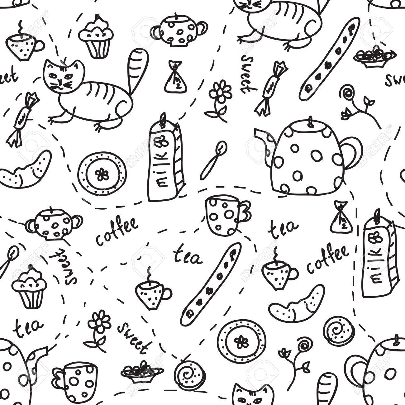 Tea and coffee doodle seamless pattern Stock Vector - 9935947