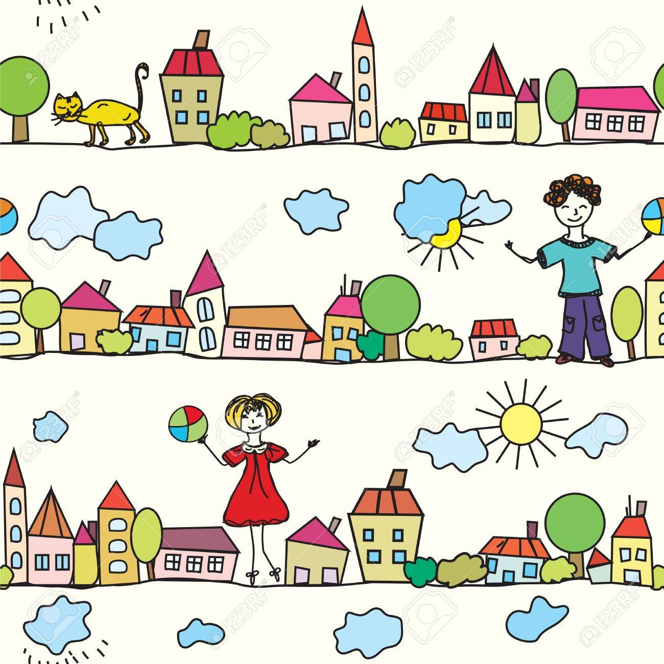 Kids Seamless Pattern With Houses And Weather Royalty Free ...