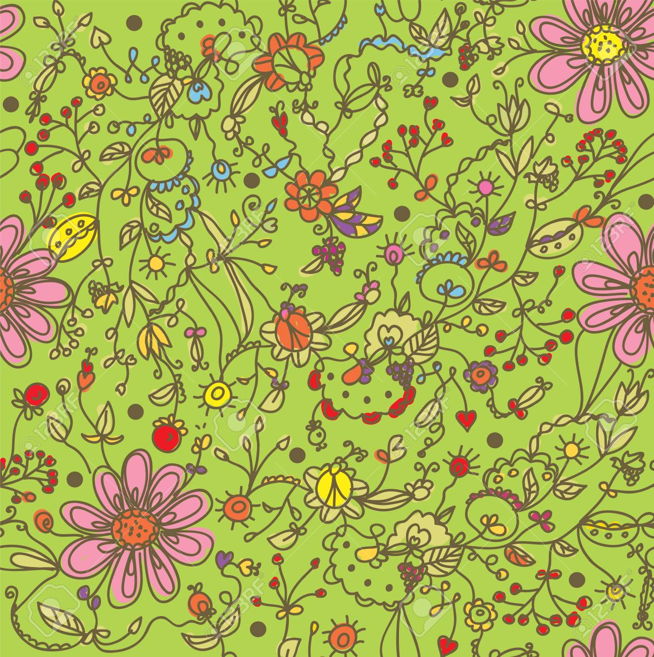 Frühling Lustig Nahtlose Florale Muster Karikatur Lizenzfrei