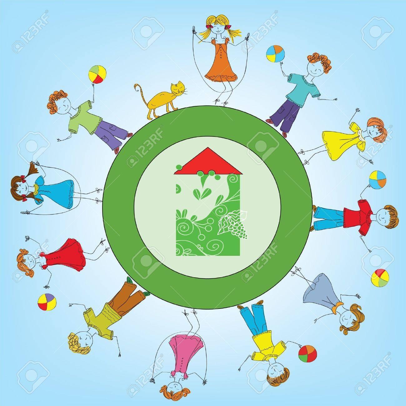 Happy children around the house Happy children around the house cartoon Stock Vector - 10278031