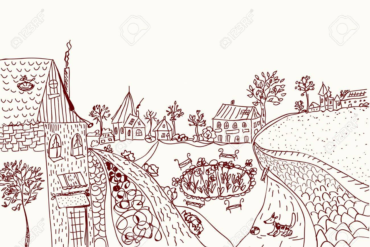 Town sketch of old style illustration Stock Vector - 10468791