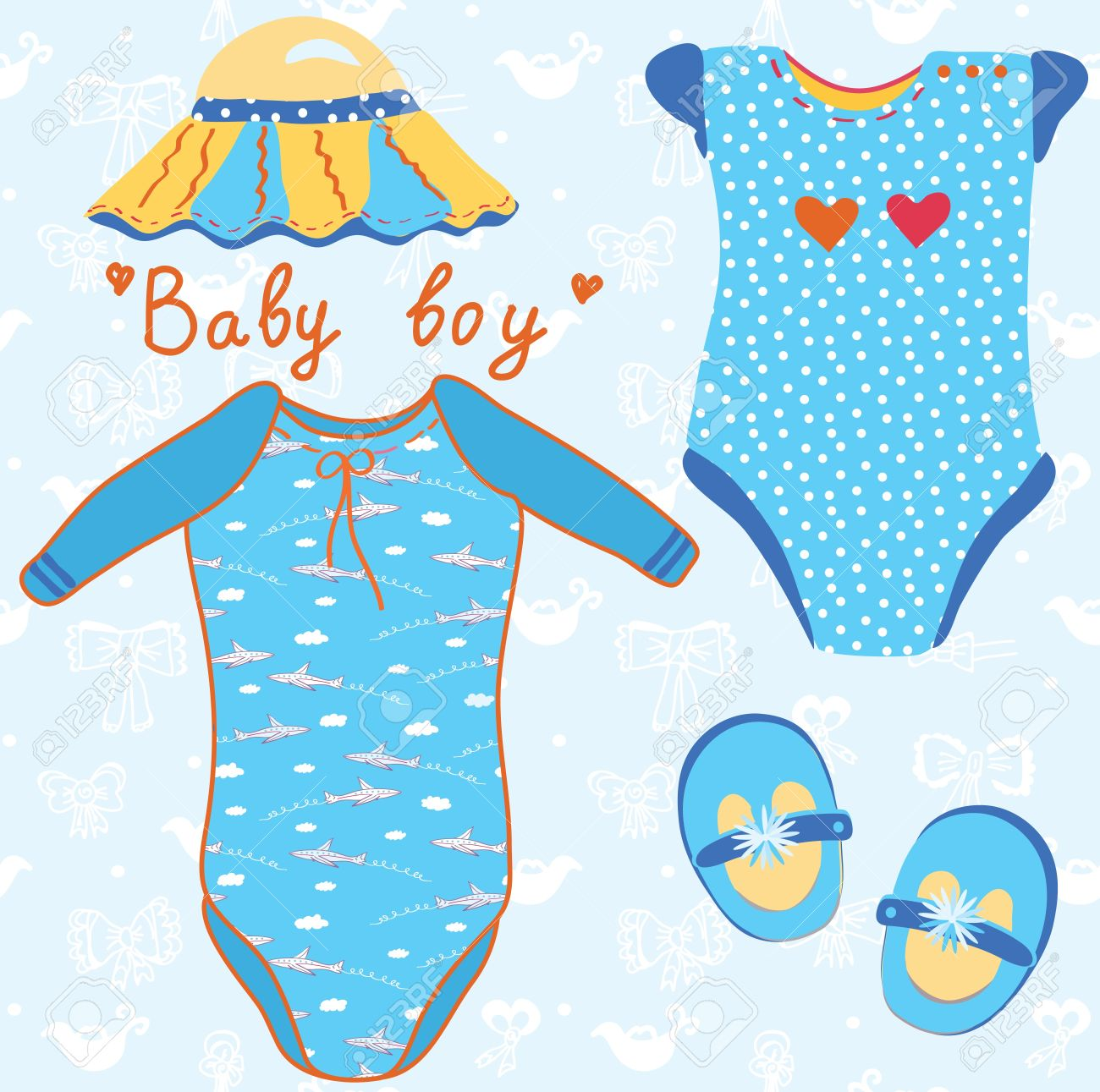 Baby garments set for boy cartoon Stock Vector - 10468793
