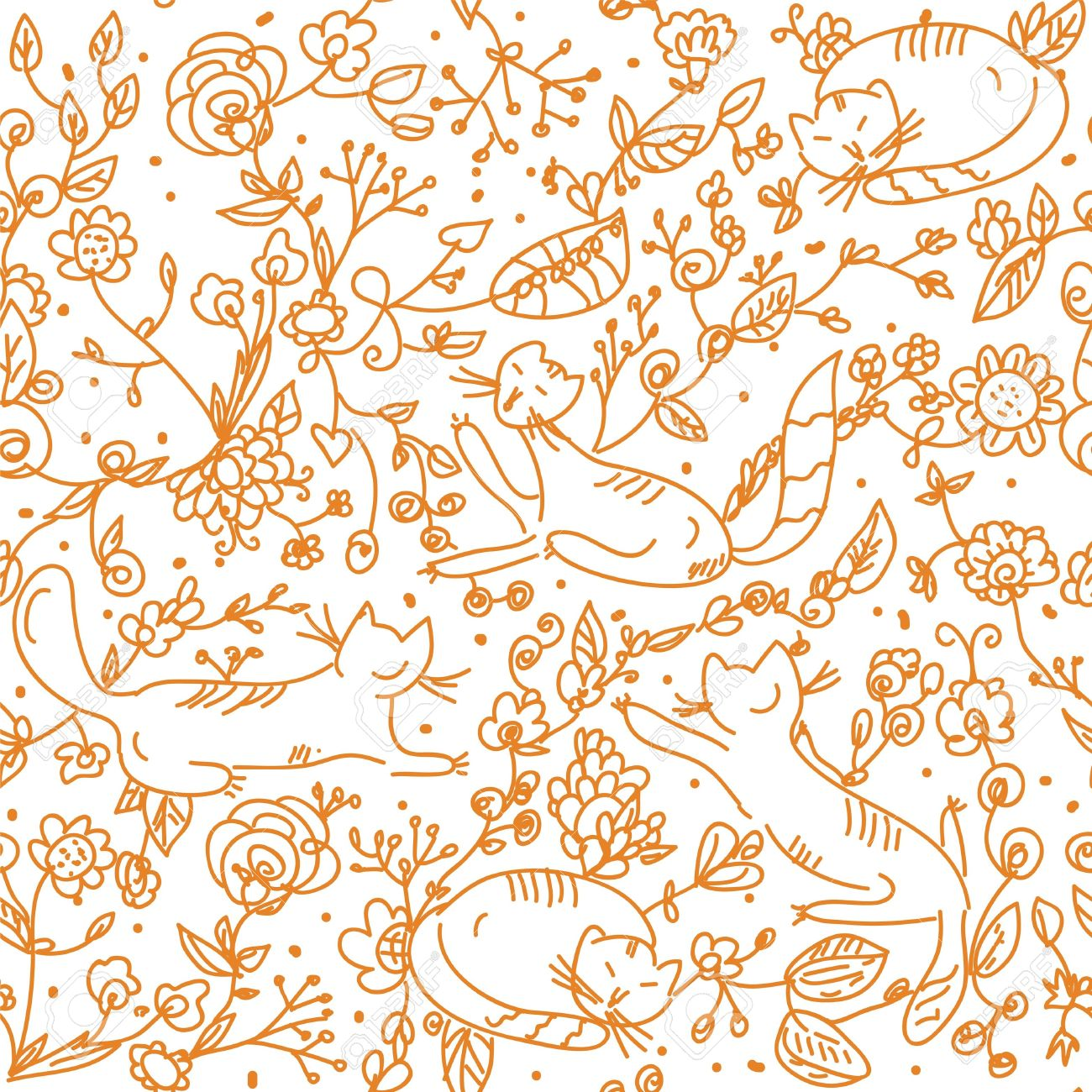 Floral Seamless Wallpaper With Cats Cartoon Royalty Free Cliparts