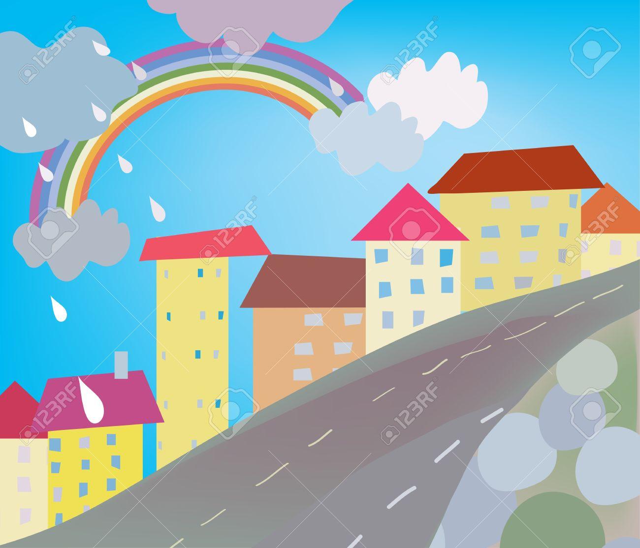Funny city cartoon for kids with rain Stock Vector - 11131827