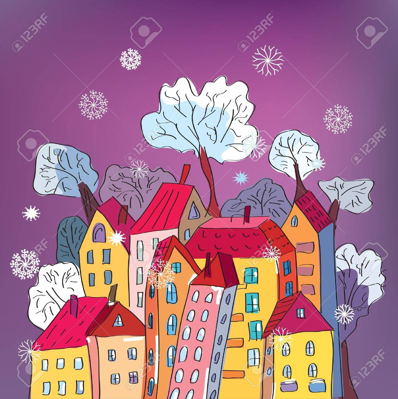 Christmas Card With Whimsical Houses Cartoon Royalty Free Cliparts
