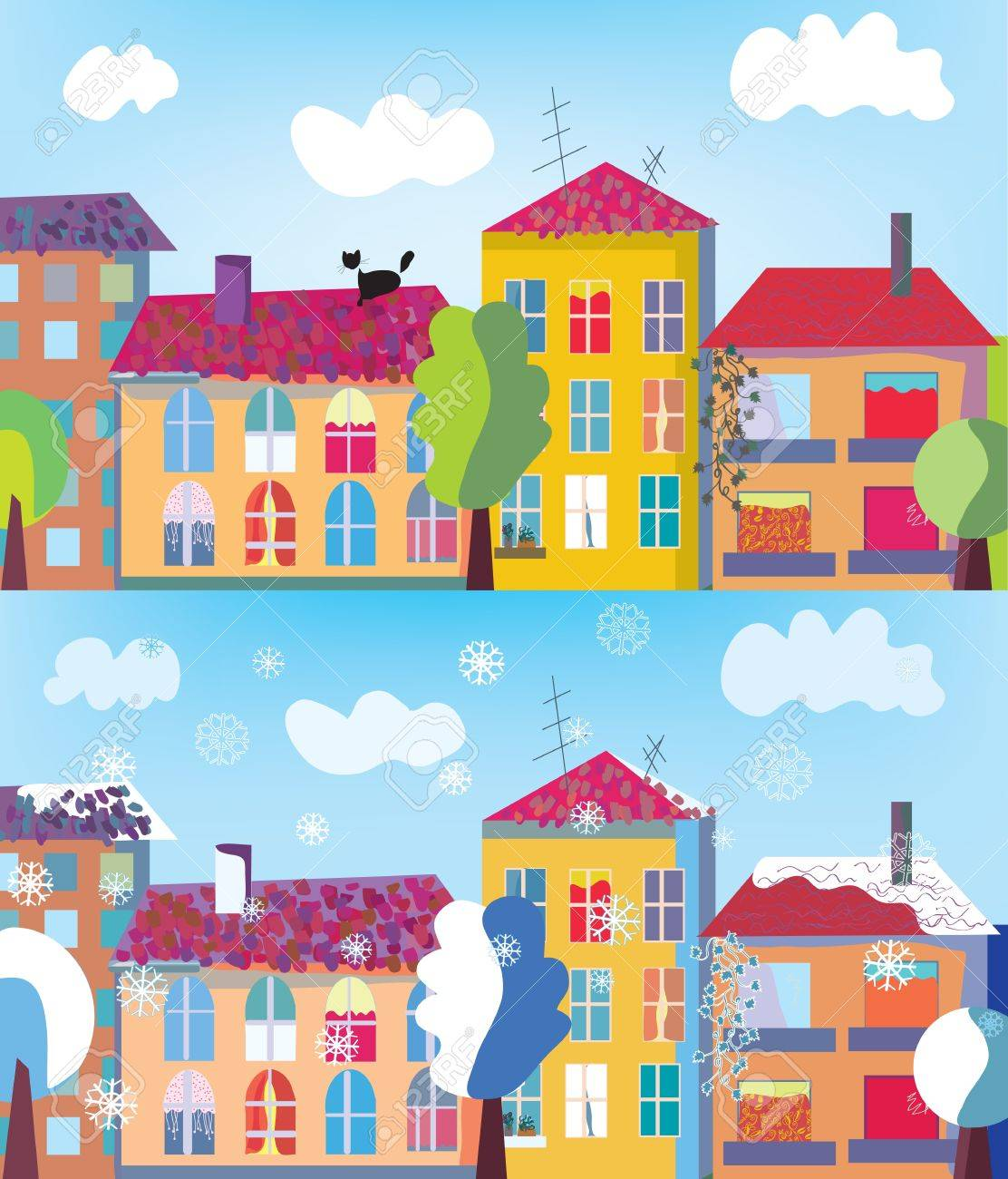 Town in summer and winter banner cartoon Stock Vector - 11131833