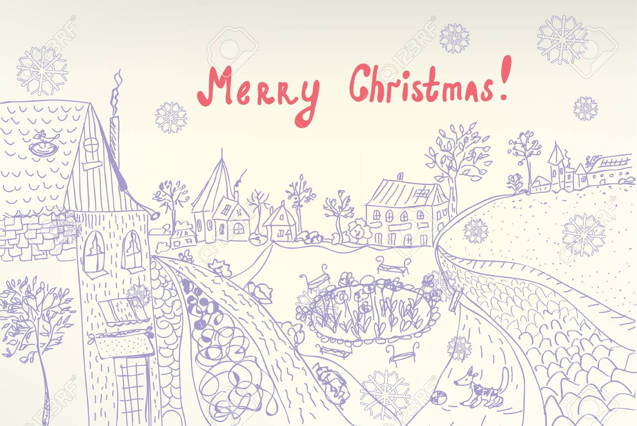 Retro christmas card with town and snow Stock Vector - 11378471