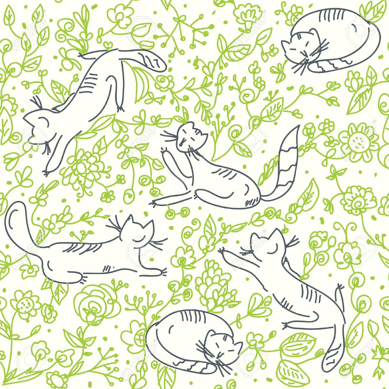 Seamless floral wallpaper with cats and roses Stock Vector - 11378470
