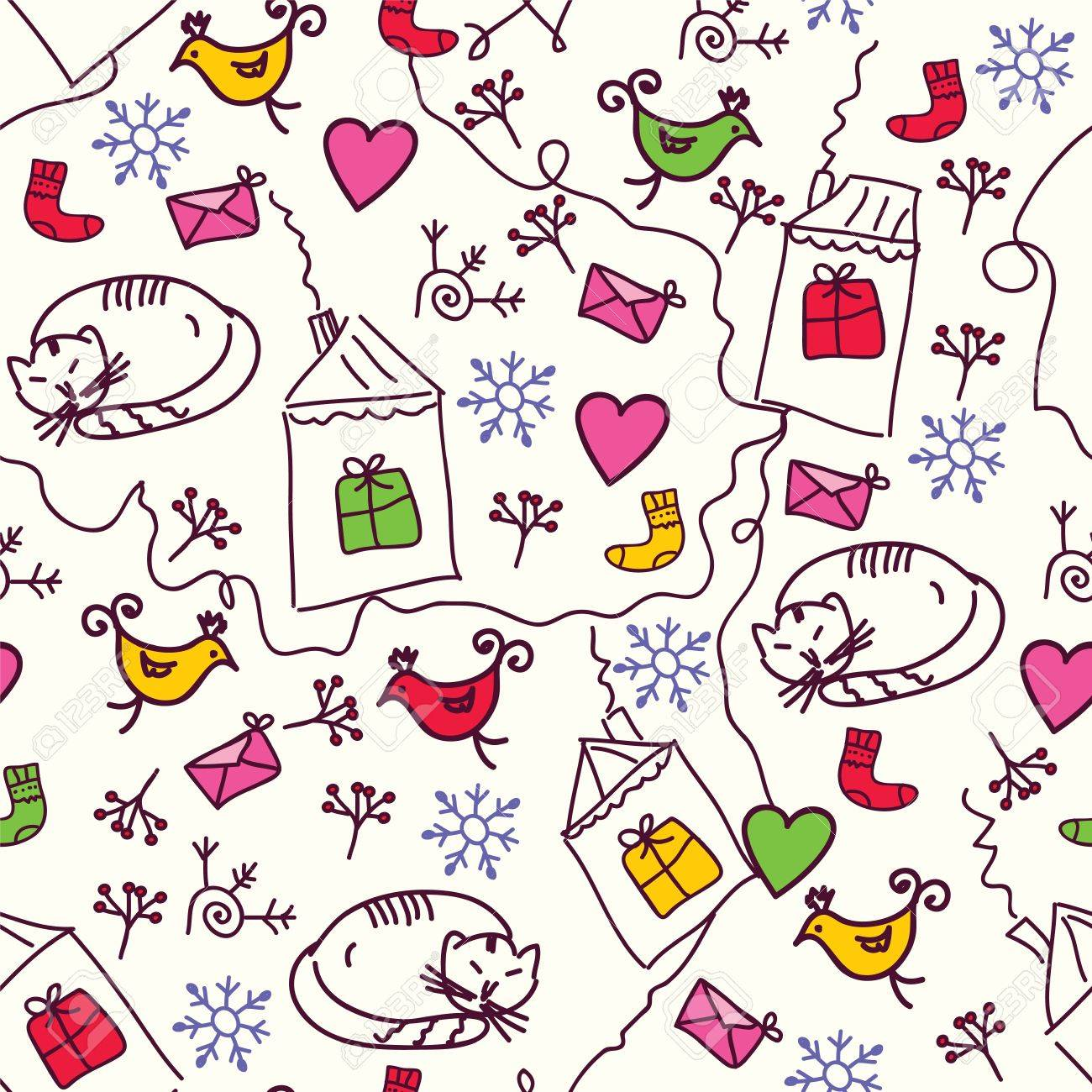 Christmas seamless pattern with cats and birds Stock Vector - 11497176