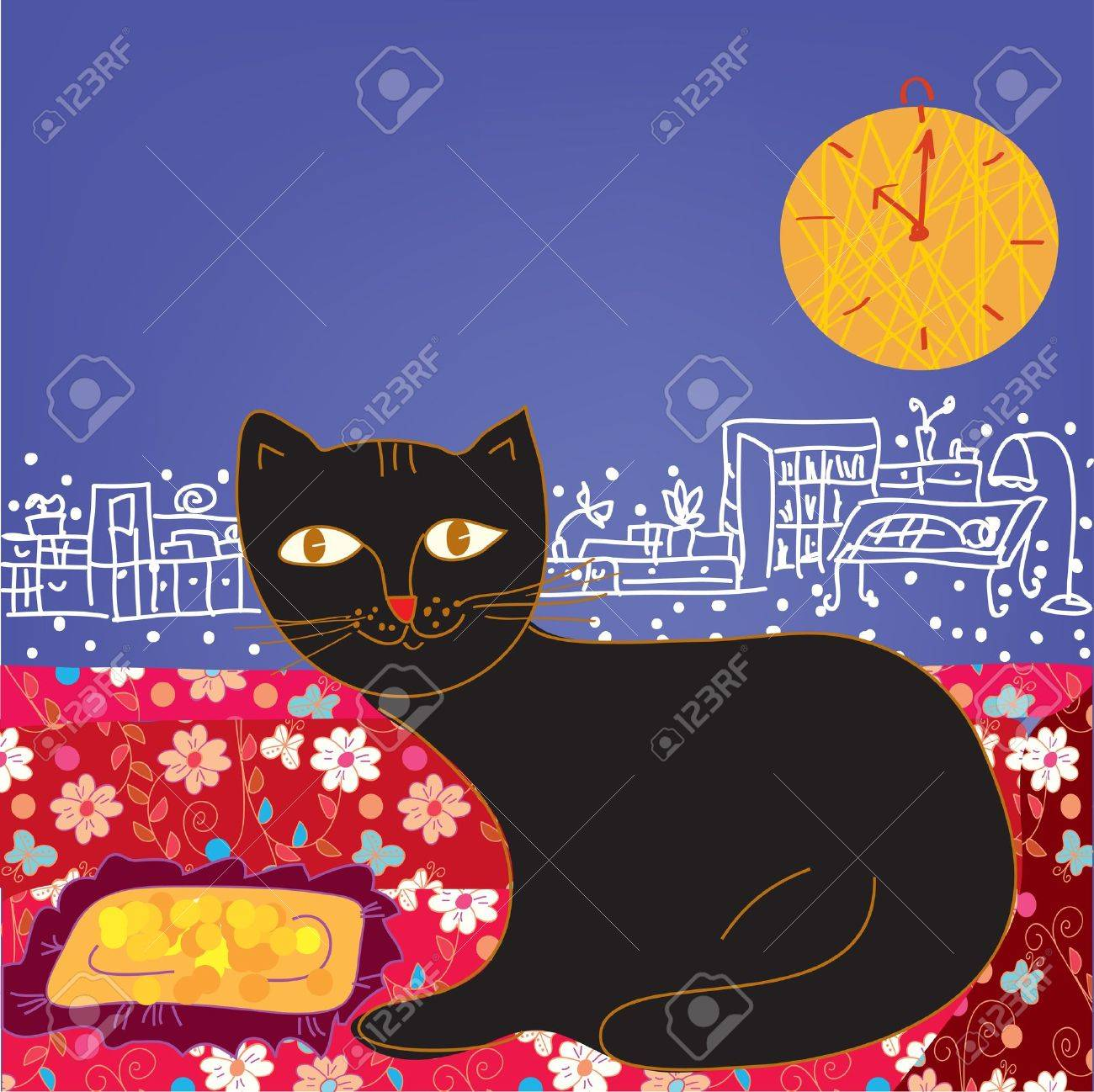 Funny cat in the room cartoon Stock Vector - 12009686