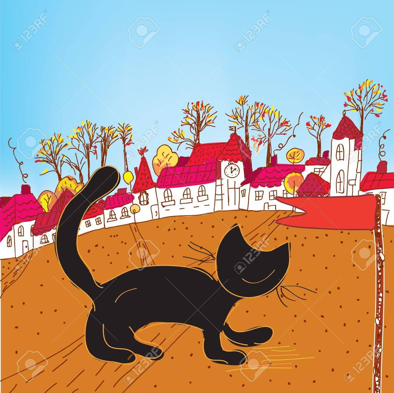Fairytale autumn town and cat card Stock Vector - 12009685