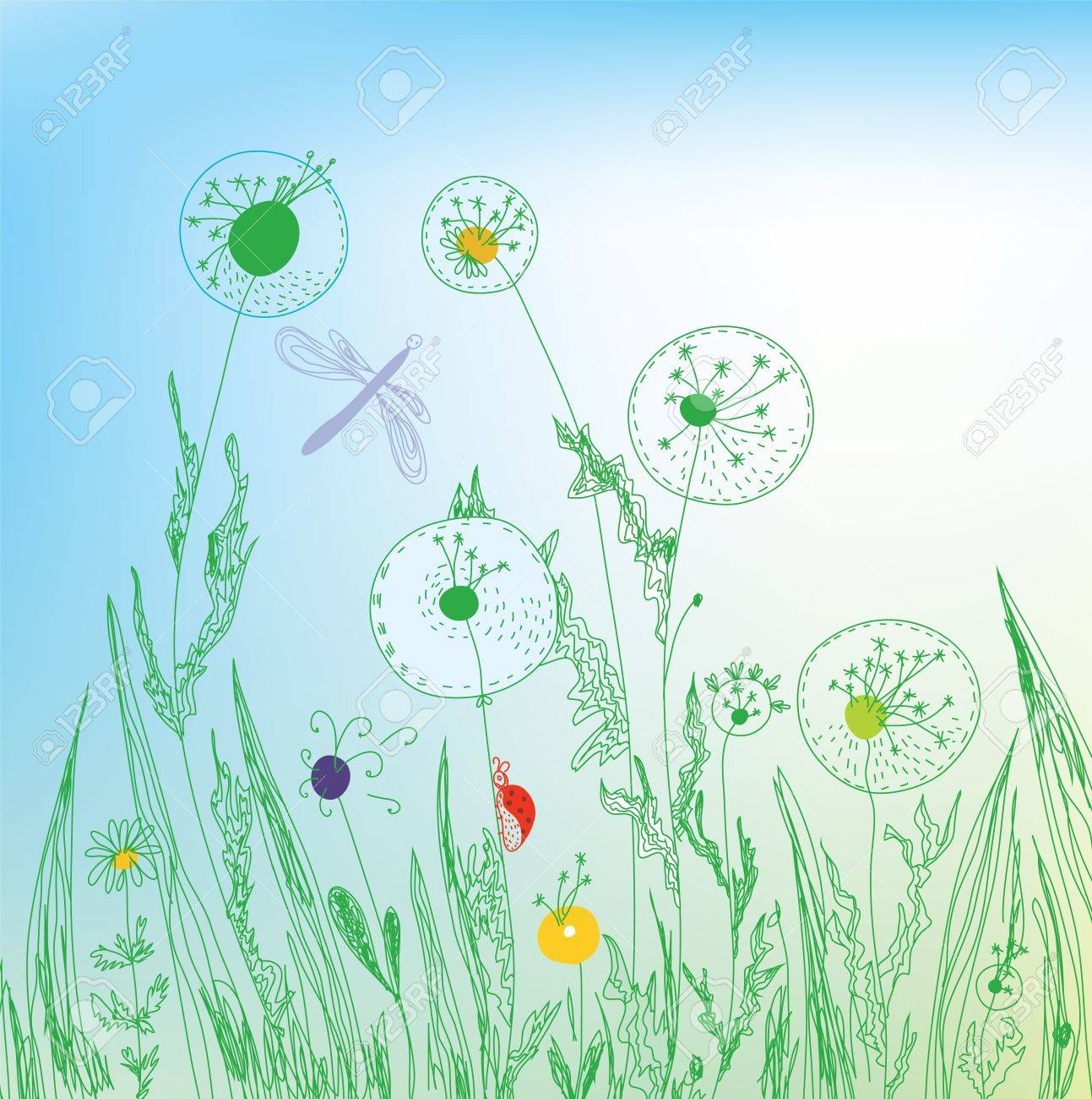 Dandelion and grass field background Stock Vector - 12488499