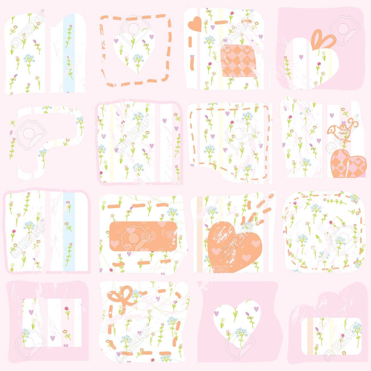 Pink Floral Patterns Background With Hearts Royalty Free Cliparts