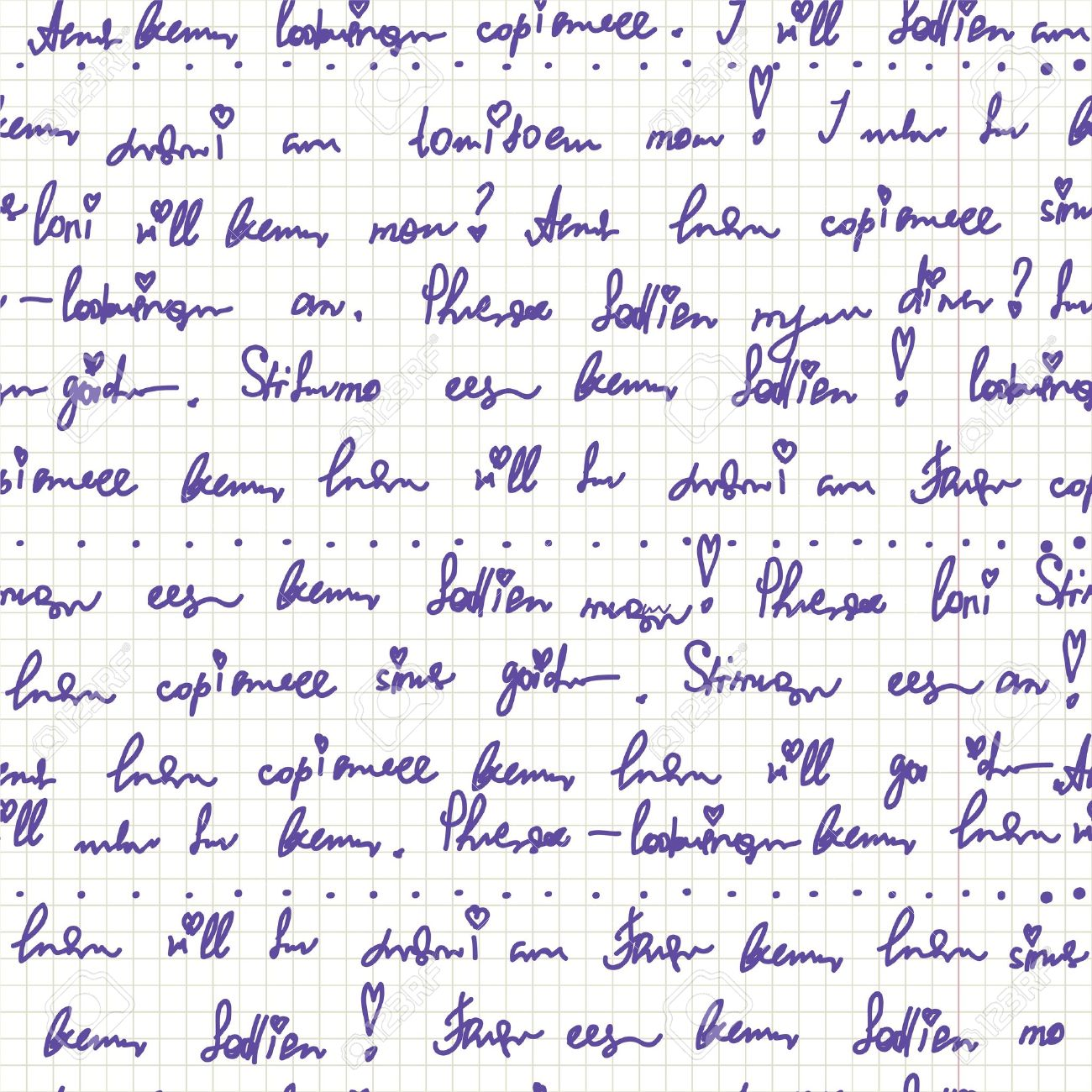 Handwriting on the paper seamless pattern cute - 13153085