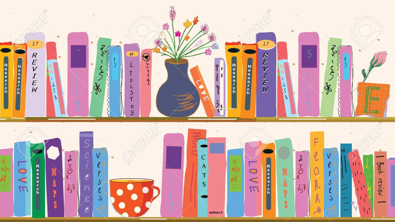 Book shelves at home with vases - 13668588